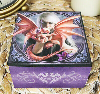 Dragonkin Young Dragon With Trainer Jewelry Mirror Box By Anne Stokes
