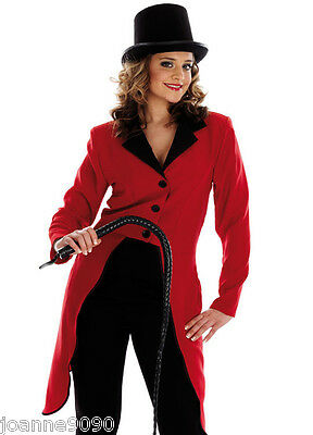 Ladies Ringmaster Fancy Dress Costume Ring Master Circus Lion Tamer Jacket & Hat