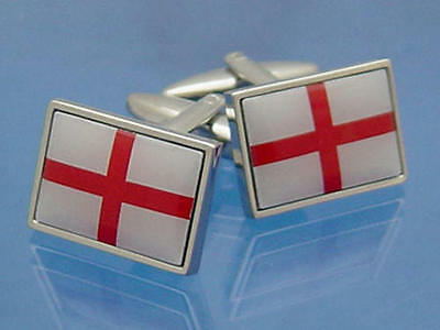 White & Red England Flag Deluxe Cufflinks With Gift Pouch St Georges Cross New