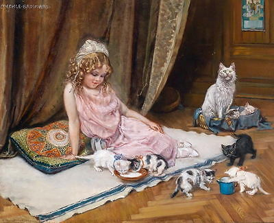 Huge Oil painting portraits little girl feeding her Favourite pets Kittens cats