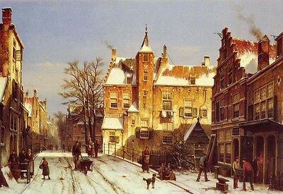 Art Oil painting Willem KOEKKOEK - A Dutch Village In Winter old town landscape