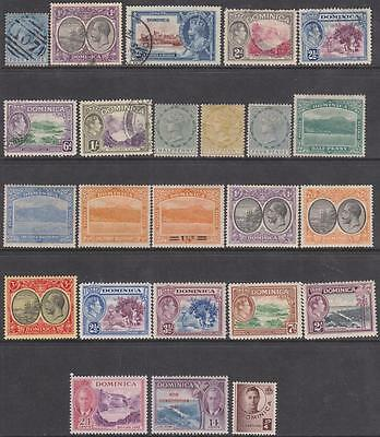 Dominica pre-1953 hi val selection 24 diff stamps cv $77.85