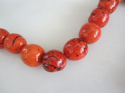 Polished Orange Black & Brown Tagua Nut Wood Beads 18mm to 20mm Round 9PC