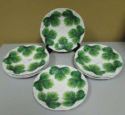 Antique set of 8 Meissen green leaf and vine plates 19th