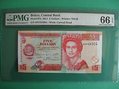 Belize, Central Bank Pick 67e, Five Dollars 2011 PMG 66 EPQ