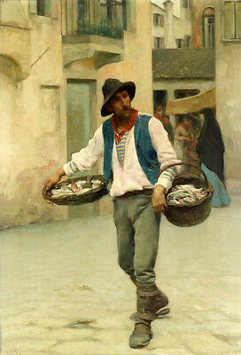"""Charming Oil painting male portrait the fish seller in the street no framed 36"""""""
