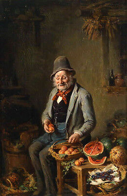 Charming Oil painting elder male portrait with his fruits in room no framed 36""