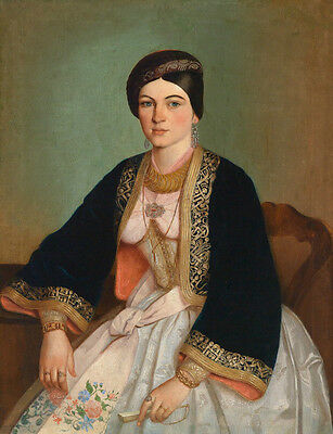 """Huge Oil painting portraits beautiful young noble lady in Embroidered skirt 36"""""""