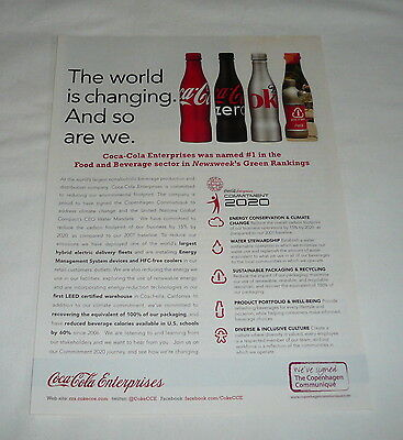 2009 Coca Cola ad page ~ THE WORLD IS CHANGING