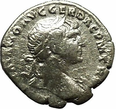 Trajan 105AD  Silver Authentic Ancient Roman Coin Victory Nike Cult   i39822