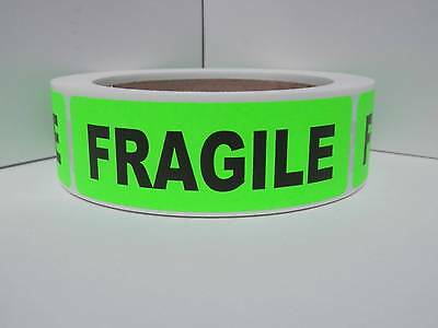"""FRAGILE 1.125""""x3.5"""" Warning Stickers Labels fluorescent green bkgd 250/rl"""