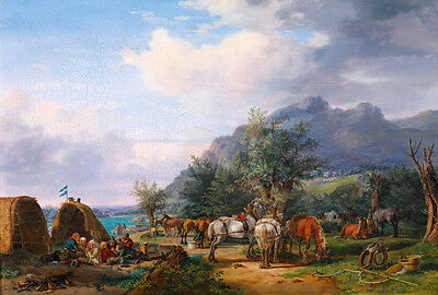 Stunning Oil painting white and red horses in landscape - caravan cavalry canvas