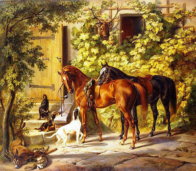 Oil painting Albrecht Adam - Horses at the Porch with Hunting prey and dogs