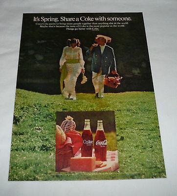 1969 Coca Cola ad page ~ IT'S SPRING Share A Coke With Someone