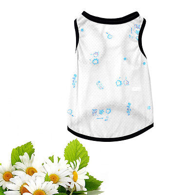 Size S Summer White Pet Puppy Dog Apparel Clothes Tank Top Shirts Vest Pullover