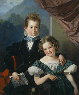 Wonderful Oil painting portrait brother holding book with young sister in dusk