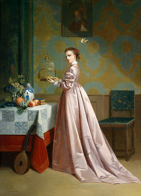 Huge Oil painting beautiful portrait noble lady holding Birdcage & flying pet