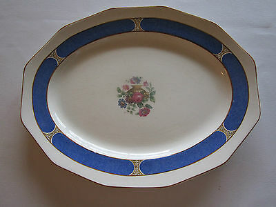 """Vintage booths england platter tray Silicone China blue floral flowers 14"""" Oval"""