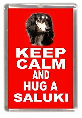 "Saluki Dog Fridge Magnet ""KEEP CALM AND HUG A SALUKI"" by Starprint"