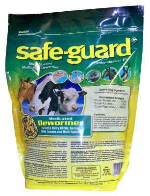 Safe-Guard Medicated Dewormer Pellets Horse Pony Cow Cattle Dairy Beef Pig 5 lb