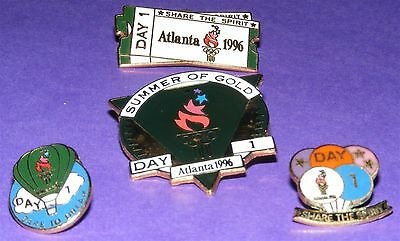 ATLANTA 1996 Olympic Collectible Countdown Pin Set - Opening Day 4 Different Pin