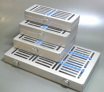 Set of 4 Dental  Instruments Sterilization Locking Trays,5,7,15 & 20 inst CE