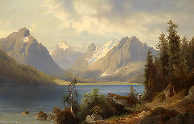 Oil painting European classical landscape mountains along the river on canvas
