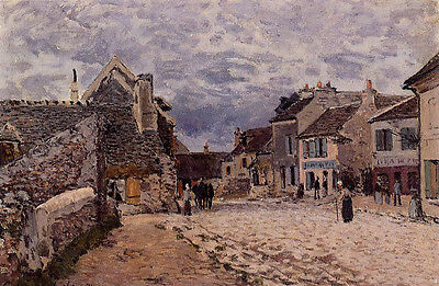 Stunning Oil painting Alfred Sisley - Village Street, Grey Weather with villager