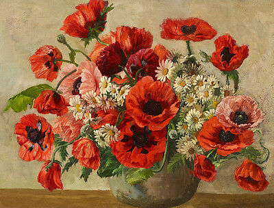 Oil painting Nice still life flowers Bouquet with red poppies in vase no framed