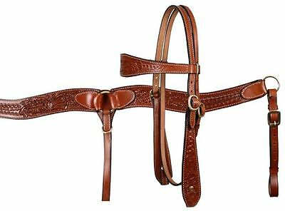 Western Leather Horse Bridle Headstall W / 7' Split Reins & Breast Collar Plate