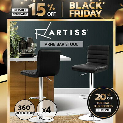 4x Leather Bar Stools ENZO Swivel Bar Stool Kitchen Dining Chairs Black Gas Lift