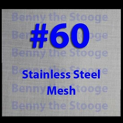 """12""""x12"""" 60 MESH / 250 MICRON WIRE MESH 316 STAINLESS STEEL"""