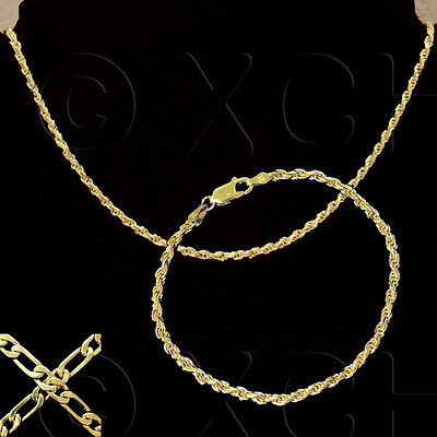 NEW LADIES 2 PC SET FRENCH ROPE BRACELET & NECKLACE GOLD on SOLID STERLING #289