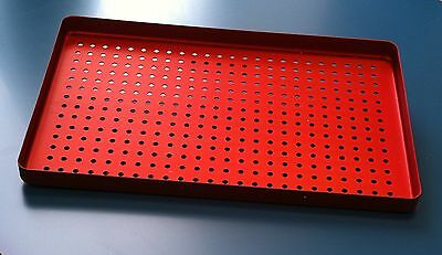 5 x  Dental Aluminium Instruments Tray Perforated 28x18cm Autoclavable-Red