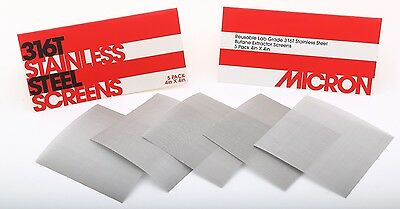 """(5 Pack) 4"""" x 4"""" - 120 Micron High Yield Stainless Steel Mesh 710 Screens"""