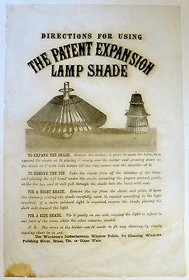 """""""DIRECTIONS FOR USING THE PATENT EXPANSION LAMP SHADE"""" PICTORIAL BROADSIDE 1876"""