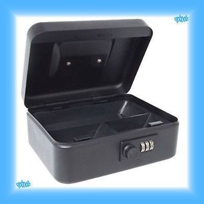 """Sterling 8"""" Black Combination Lock Cash Box Safe With Coin Tray - Petty Cash Tin"""