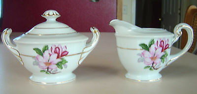 SONE CHINA CREAMER & SUGAR BOWL W/LID SON36 PINK FLOWERS GRAY BAND GOLD TRIM