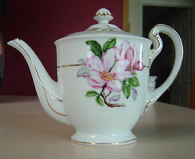 SONE CHINA TEAPOT W/LID SON36 PINK FLOWERS GRAY BAND GOLD TRIM BEAUTIFUL