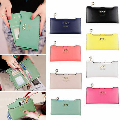 Women's Soft Zip Leather Bowknot Clutch Wallet Long Card Purse Handbag Wallet US