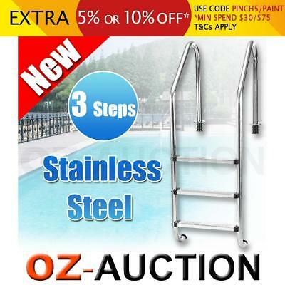 3 Step In-Ground Swimming Pool Ladder S/Steel Non-Slip Steps Sturdy Handrails