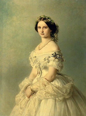 Art Oil painting female portrait young noble lady in white dress in landscape @@