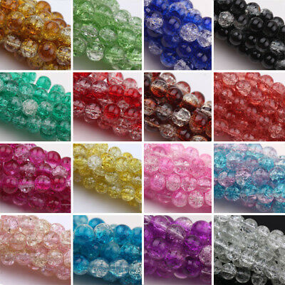 6mm,8mm,10mm Czech Glass Crackle Cracked Loose Spacer Round Crafts Beads/Cord