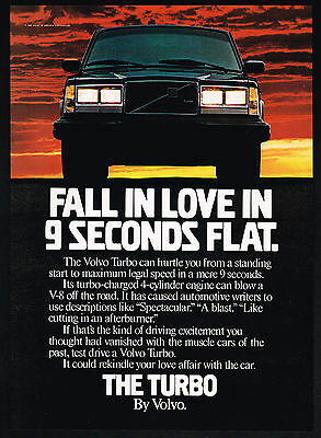 1983 Volvo Turbo Charged 4 Cylinder Car Fall In Love Print Ad