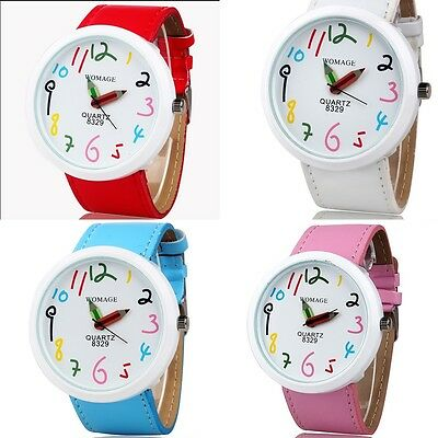 New Fashion Cute Women's Ladies' Girls Quartz Bracelet Leather Wrist Watch Gifts