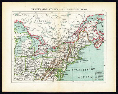 Antique Map-NORTH AMERICA-USA-MAINE-PENNSYLVANIA-CANADA-Jacob Kuyper-1880