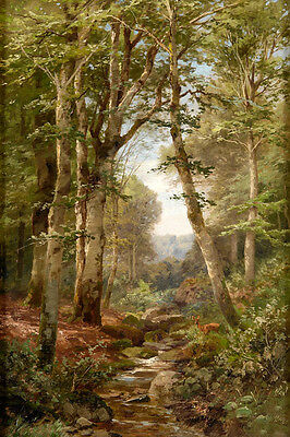 Oil painting Heinrich Böhmer - forest glade with torrent and roe deer stream