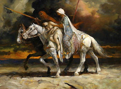 Huge Oil painting Plunder Arabs portraits horsemen with their Slave on horses