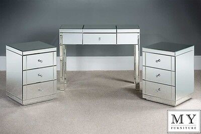 Mirrored Dressing Table/Console and 2 x 3 Drawer Mirrored Bedside Table Pack