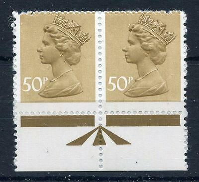 50p MACHIN UNMOUNTED MINT PAIR + PERFORATION SHIFT